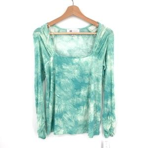 NEW Fever Square-neck Top ribbed stretch puff sleeve Green Tie-Dye S women's